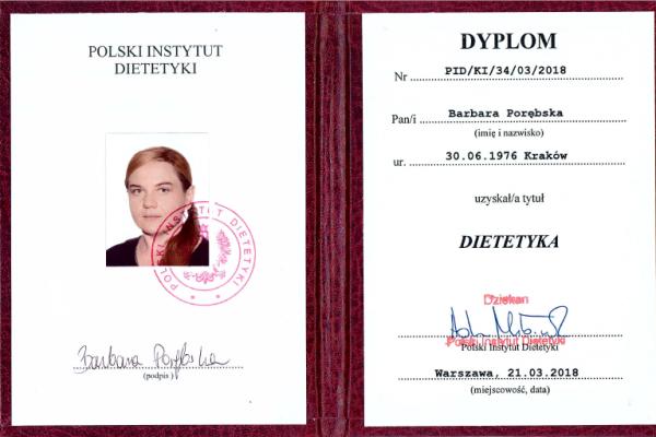 Dyplom_Barbara_Porebska_Przeciwwaga_Polski_Instytut_Dietetyki