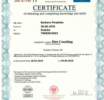 Dyplom_Barbara_Porebska_Przeciwwaga_Polski_Instytut_Dietetyki_Certyfikat