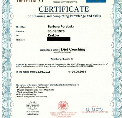 Dyplom_Barbara_Porebska_Przeciwwaga_Polski_Instytut_Dietetyki_Certyfikat_