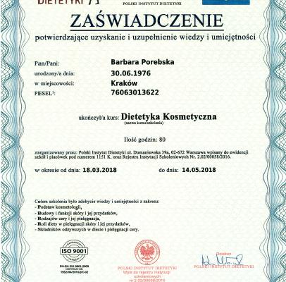 Dyplom_Barbara_Porebska_Przeciwwaga_Polski_Instytut_Dietetyki_Dietetyka_Kosmetyczna