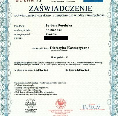 Dyplom_Barbara_Porebska_Przeciwwaga_Polski_Instytut_Dietetyki_Dietetyka_Kosmetyczna_