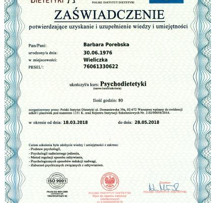 Dyplom_Barbara_Porebska_Przeciwwaga_Polski_Instytut_Dietetyki_Psychodietetyka