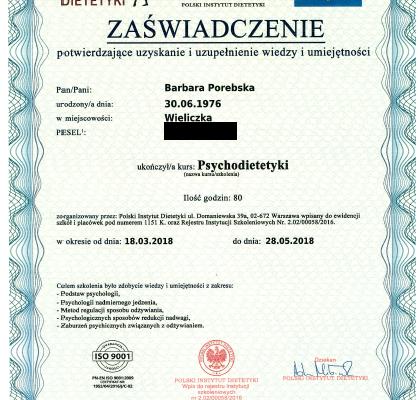 Dyplom_Barbara_Porebska_Przeciwwaga_Polski_Instytut_Dietetyki_Psychodietetyka_