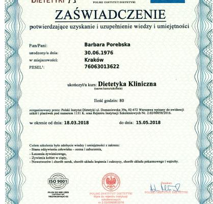 Dyplom_Barbara_Porebska_Przeciwwaga_Polski_Instytut_Dietetyki_Zaswiadczenie
