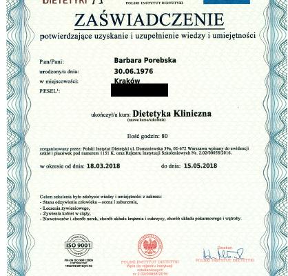 Dyplom_Barbara_Porebska_Przeciwwaga_Polski_Instytut_Dietetyki_Zaswiadczenie_